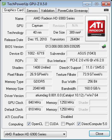 GPU-Z + ASUS HD 6950