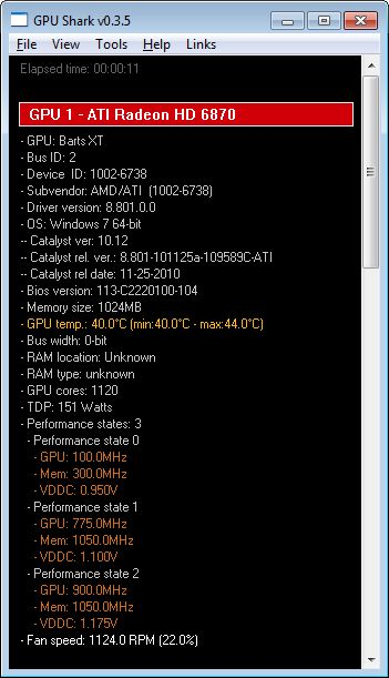 GPU Shark 0.3.5 + Catalyst 10.12 + Radeon HD 6870