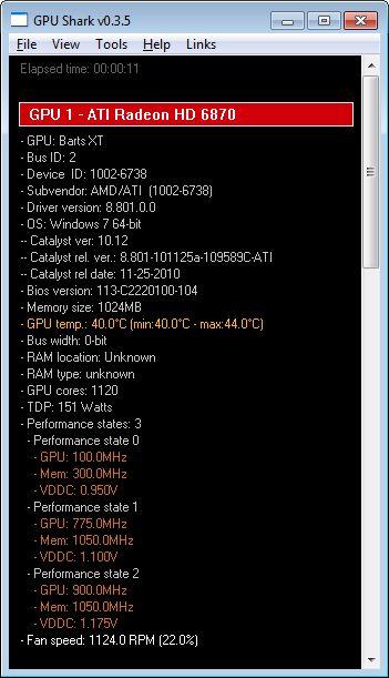 GPU Shark 0.3.5 + Catalyst 10.12 + Radeon HD 6870