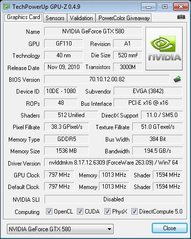 EVGA GeForce GTX 580 SC, GPU-Z