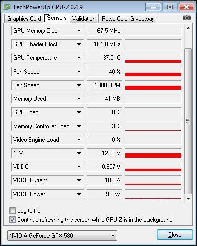 EVGA GeForce GTX 580 SC, GPU-Z sensors