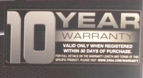 EVGA GTX 580 SC - 10 year warranty
