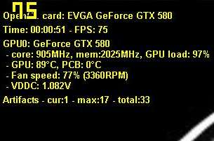 EVGA GeForce GTX 580 SC, artifacts detection with OC Scanner