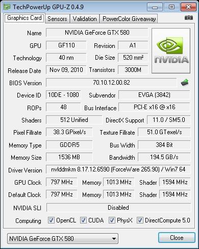 EVGA GTX 580 SC GPU-Z