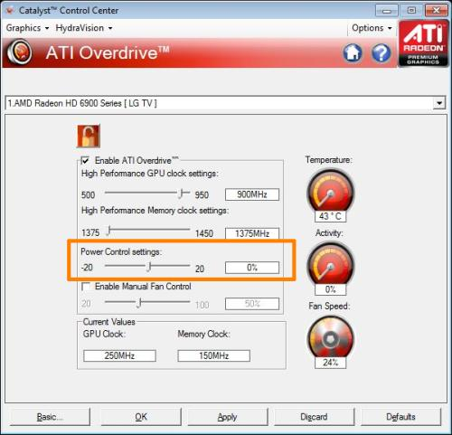 PowerTune settings in Catalyst drivers (CCC)