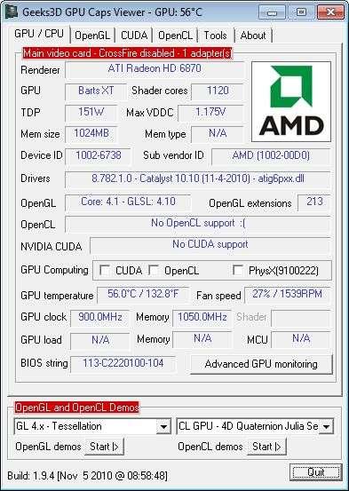 SAPPHIRE Radeon HD 6870, GPU Caps Viewer
