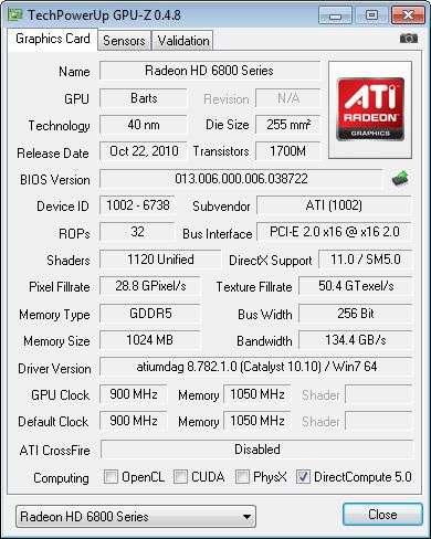 SAPPHIRE Radeon HD 6870, GPU-Z