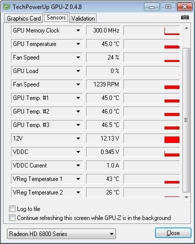 SAPPHIRE Radeon HD 6870, GPU-Z sensors