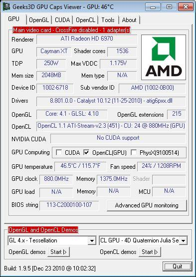 SAPPHIRE Radeon HD 6970, GPU Caps Viewer