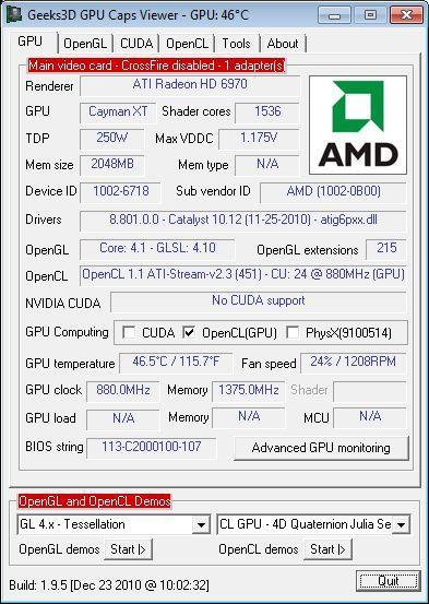SAPPHIRE Radeon HD 6970, GPU Caps Viewer