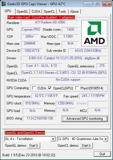 ASUS Radeon HD 6950, GPU Caps Viewer