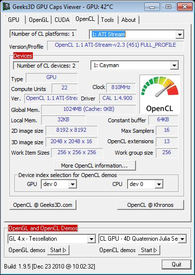 ASUS Radeon HD 6950, GPU Caps Viewer, OpenCL