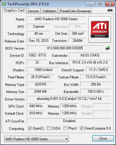 ASUS Radeon HD 6950, GPU-Z