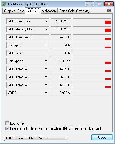 ASUS Radeon HD 6950, GPU-Z sensors