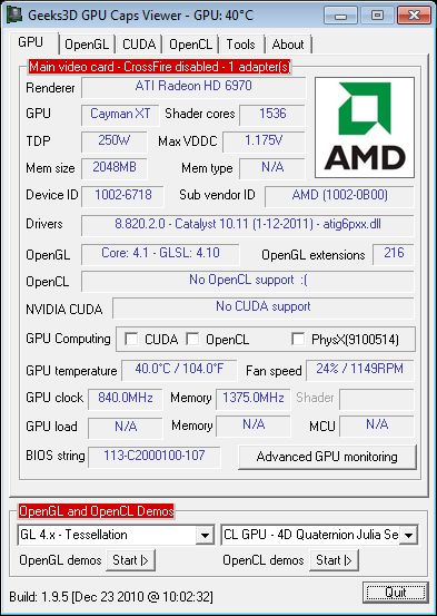 AMD Catalyst 11.1 hotfix + GPU Caps Viewer