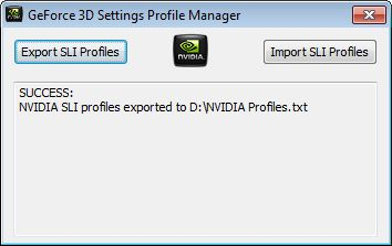 GeForce 3D Settings Profile Manager - Export SLI profile