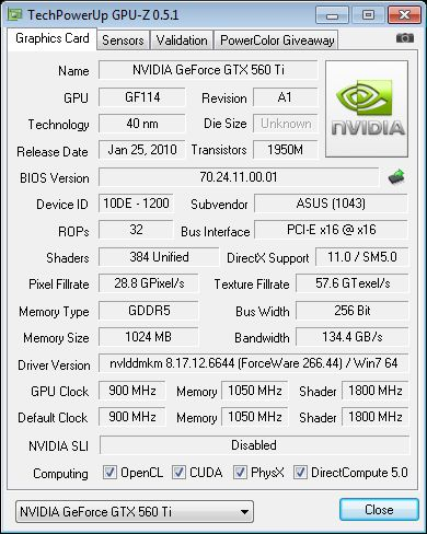 ASUS GeForce GTX 560 Ti Direct Cu II TOP, GPU-Z