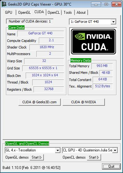 ASUS GT 440, GPU Caps Viewer, CUDA