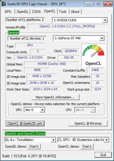 ASUS GT 440, GPU Caps Viewer, OpenCL