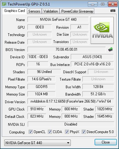 ASUS GT 440, GPU-Z