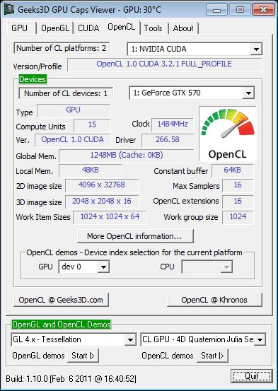 ASUS GTX 570 DC2, GPU Caps Viewer, OpenCL