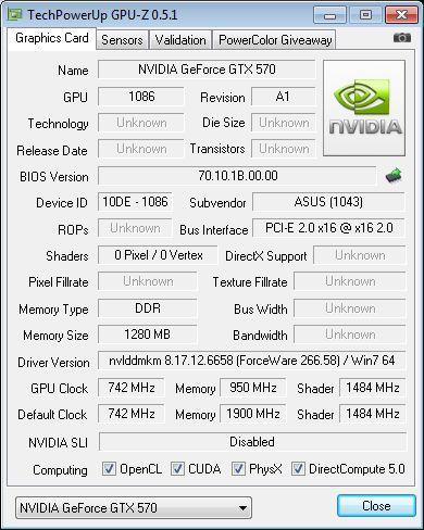 ASUS GTX 570 DC2, GPU-Z