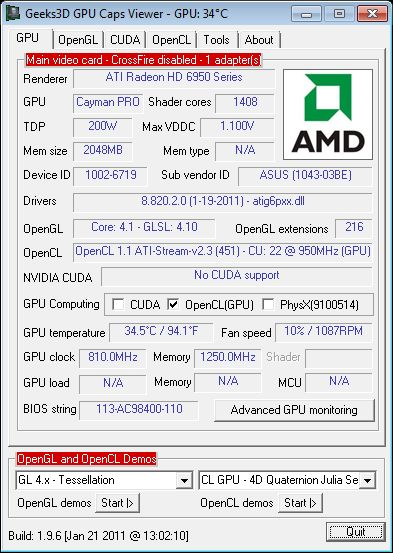 ASUS Radeon HD 6950 DC2, GPU Caps Viewer