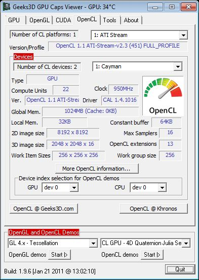 ASUS Radeon HD 6950 DC2, GPU Caps Viewer, OpenCL