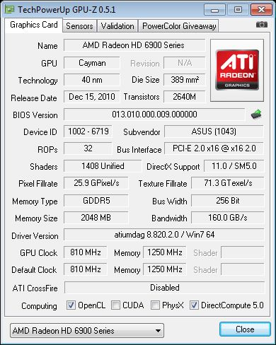 ASUS Radeon HD 6950 DC2, GPU-Z