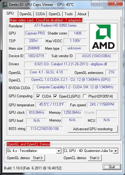 AMD Catalyst 11.2 + ASUS HD 6950 + GPU Caps Viewer