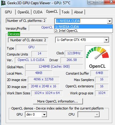 GPU Caps Viewer, OpenCL platforms, NVIDIA and Intel