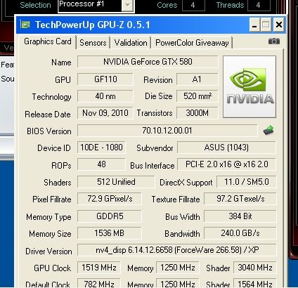 ASUS GeForce GTX 580 DirectCU II Overclocked at 1519MHz