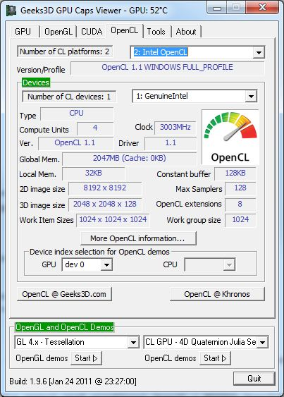 Intel OpenCL + GPU Caps Viewer
