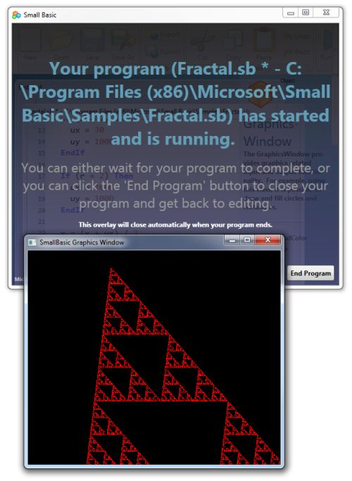 Microsoft Small Basic, fractal demo in action