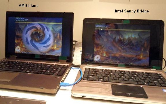 AMD LIano vs Intel Sandy Bridge in FurMark