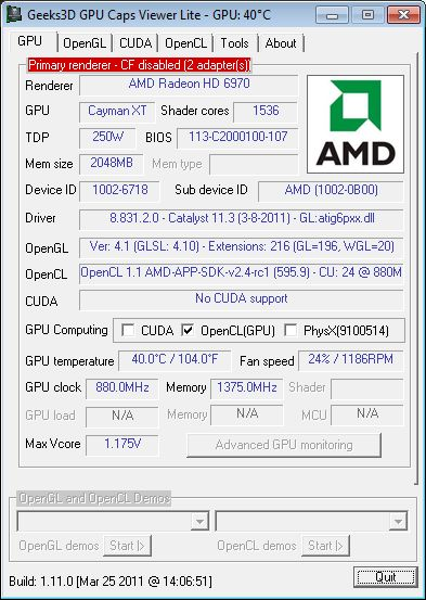 AMD Catalyst 11.3 WHQL + GPU Caps Viewer + Radeon HD 6970