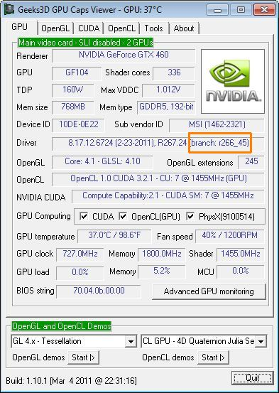 GPU Caps Viewer 1.10.1, NVIDIA driver branch version