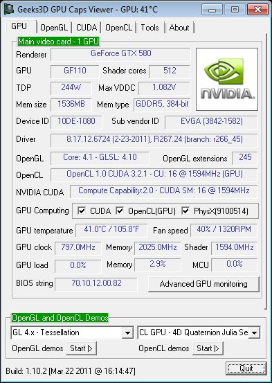 GPU Caps Viewer 1.10.2, EVGA GTX 580