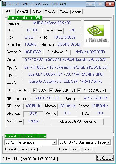 GPU Caps Viewer 1.11.1, MSI GTX 470