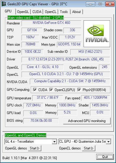 GPU Caps Viewer + R267.24 + GTX 460