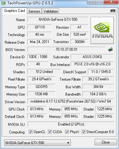 GTX 590, GPU-Z