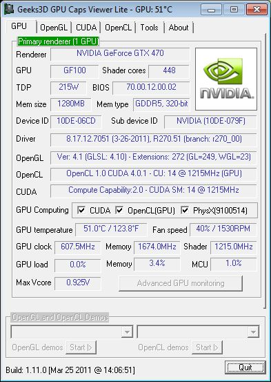 NVIDIA R270.51, GeForce GTX 470, GPU Caps Viewer Lite
