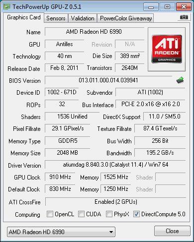 AMD Radeon HD 6990, GPU-Z