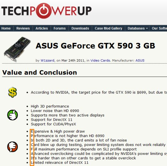 Hidden Message at TPU about the GTX 590 | Geeks3D