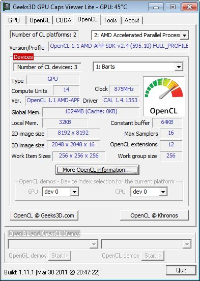 Catalyst 11.4, OpenCL info, Radeon HD 6870