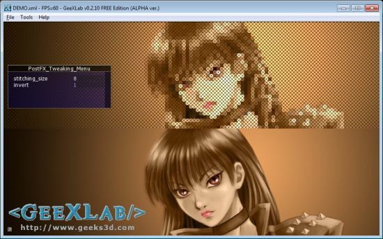 GeeXLab - Cross Stitching Post Processing Filter in GLSL