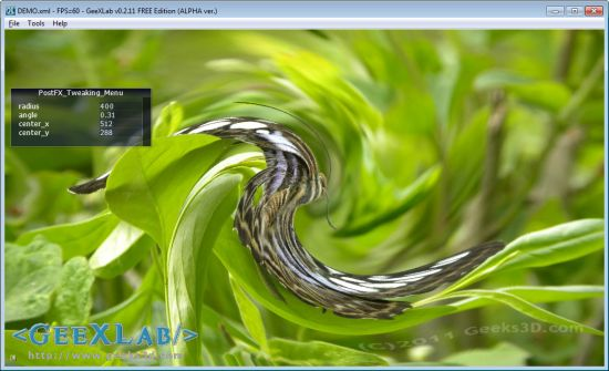 Swirl / whirl filter in GLSL