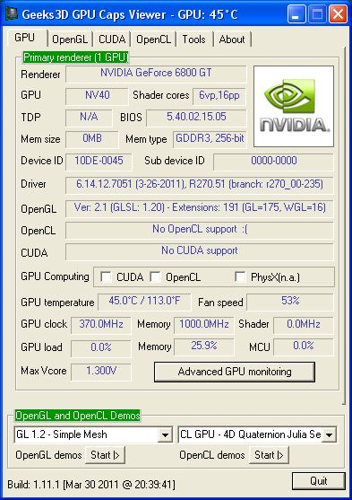 Galaxy GeForce 6800 GT, R270.581, GPU Caps Viewer