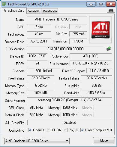 AMD Radeon HD 6790, GPU-Z
