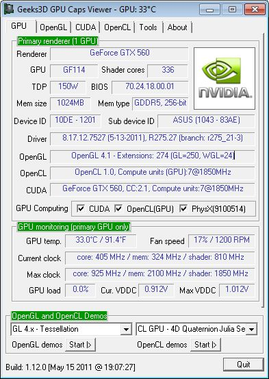 ASUS GTX 560 DC2 TOP + GPU Caps Viewer + R275.27